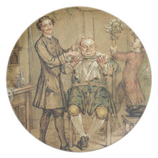 The Barber, c.1760-69 (oil on canvas) Party Plates