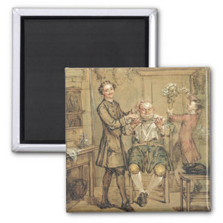 The Barber, c.1760-69 (oil on canvas) Square Magnet
