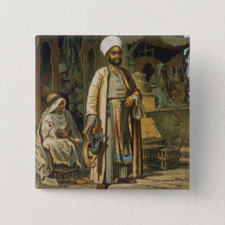 The Barber, from 'Souvenir of Cairo', 1862 (litho) 15 Cm Square Badge