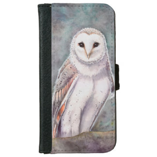 The Barn Owl Wildlife Watercolor Art iPhone 6 Wallet Case