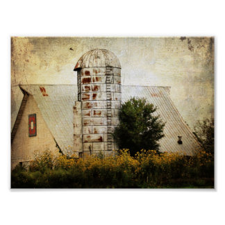 The Barn Quilt Silo and Sunflowers Posters