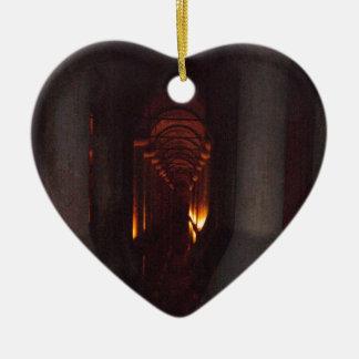 The Basilica Cistern of Istanbul Photo Ceramic Heart Decoration