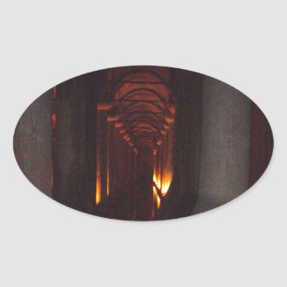 The Basilica Cistern of Istanbul Photo Oval Sticker