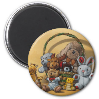 The basket of cuddly toys 6 cm round magnet
