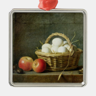 The Basket of Eggs, 1788 Silver-Colored Square Decoration