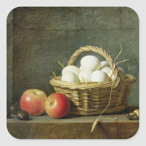 The Basket of Eggs, 1788 Square Sticker
