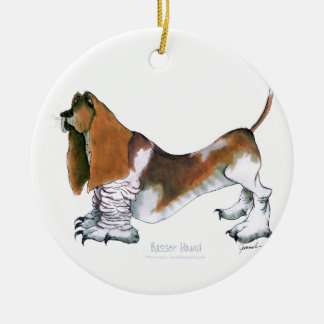 the basset hound, tony fernandes round ceramic decoration