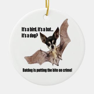 The Batdog is Taking a Bite Out of Crime Christmas Ornament
