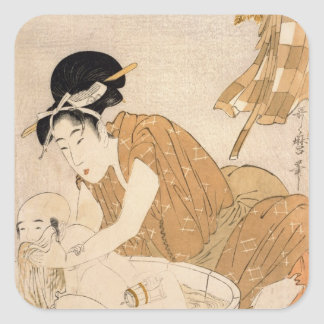 The Bath, Edo period Square Sticker
