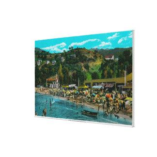 The Bathing Beach at Avalon, Catalina Island Canvas Print