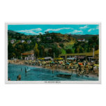 The Bathing Beach at Avalon, Catalina Island Poster