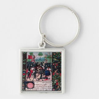 The Battle of Barnet, 1471 Silver-Colored Square Key Ring