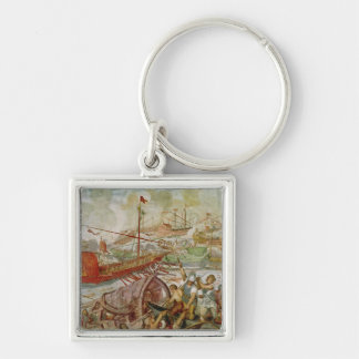 The Battle of Lepanto, October 1571, 1600 Silver-Colored Square Key Ring