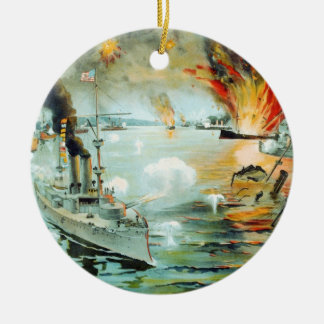 The Battle of Manila Bay Spanish American War Double-Sided Ceramic Round Christmas Ornament