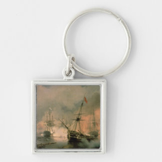 The Battle of Navarino, 20th October 1827, 1846 Silver-Colored Square Key Ring