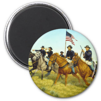The Battle of Prairie Dog Creek by Ralph Heinz 6 Cm Round Magnet