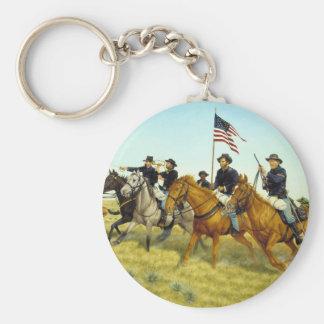 The Battle of Prairie Dog Creek by Ralph Heinz Basic Round Button Key Ring