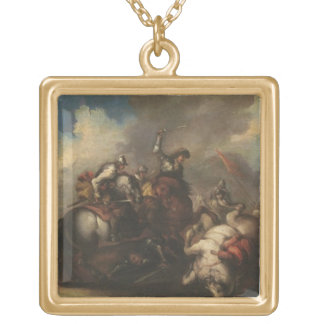 The Battle of the Cavaliers (oil on canvas) Gold Plated Necklace