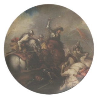 The Battle of the Cavaliers (oil on canvas) Plate