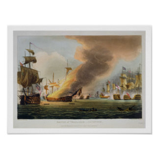 The Battle of Trafalgar, October 21st 1805, engrav Poster