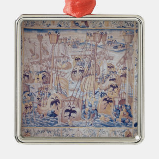 The Battle of Tunis or Lepanto Silver-Colored Square Decoration