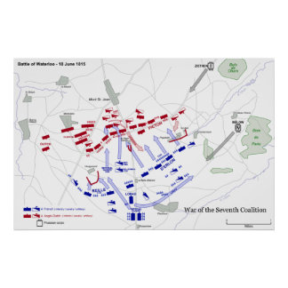 The Battle of Waterloo Strategic Map June 18 1815 Poster