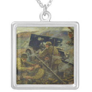 The Battle of Yelnya near Moscow in 1941 Square Pendant Necklace