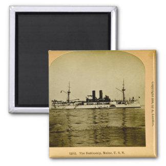 The Battleship Maine Vintage Stereoview Square Magnet