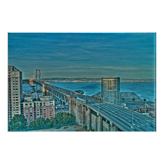 The Bay Bridge in the Evening Poster