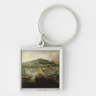 The Bay of Naples Silver-Colored Square Key Ring