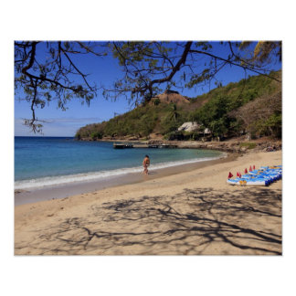 The beach at Pigeon Island National Park Poster