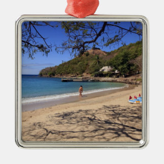 The beach at Pigeon Island National Park Silver-Colored Square Decoration
