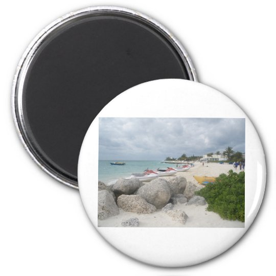 The Beach at Port Lucaya, Freeport 6 Cm Round Magnet