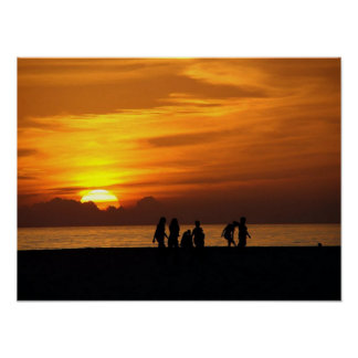The Beach At Sunset Poster