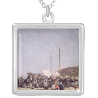The Beach at Trouville, 1864 Silver Plated Necklace