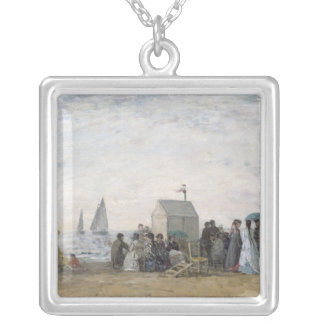 The Beach at Trouville, 1867 Silver Plated Necklace
