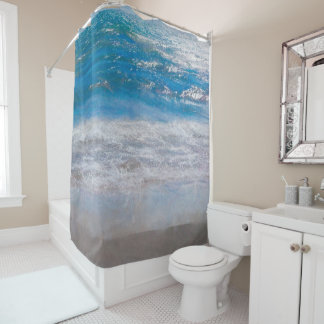The Beach Blue Water Photograph Painted Shower Curtain