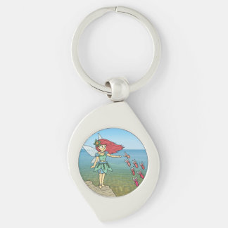 The Beach Fairy Silver-Colored Swirl Key Ring