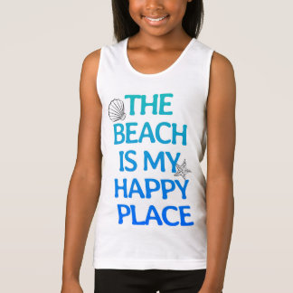 The Beach is My Happy Place Girls' Tank Top