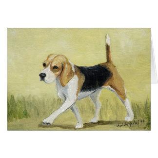 """""""The Beagle Strut"""" Dog Art Greeting Card"""