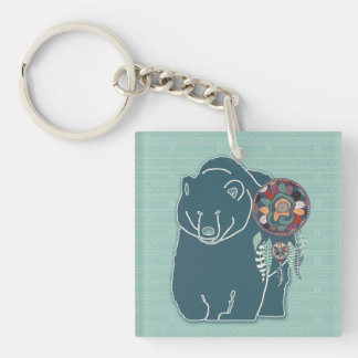 the Bear Animal Guide in Teal Green Hues Single-Sided Square Acrylic Key Ring