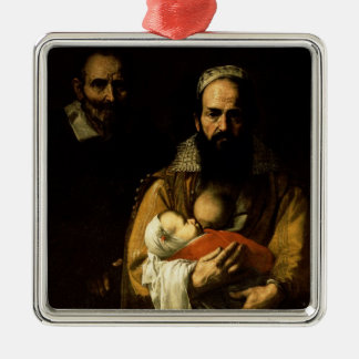 The Bearded Woman Breastfeeding, 1631 Silver-Colored Square Decoration