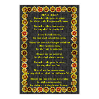 The Beatitudes in a Prickly Pear Cactus Frame Poster