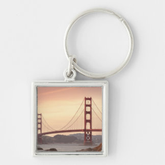 The beautiful Golden Gate Bridge in San Francisco Silver-Colored Square Key Ring