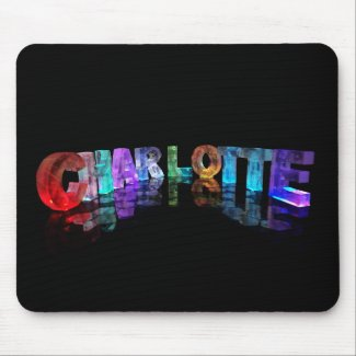 The Beautiful Name Charlotte in 3D Lights Mousemats