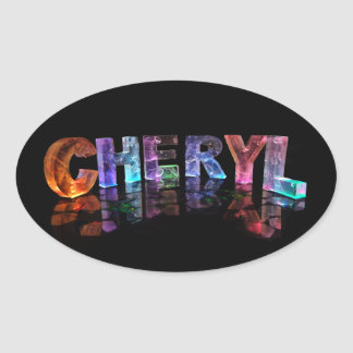 The Beautiful Name Cheryl in 3D Lights Oval Sticker