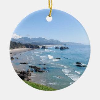 The Beautiful Oregon Coast from Ecola Park Christmas Ornament