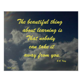 THE BEAUTIFUL THING ABOUT LEARNING B.B.KING POSTER