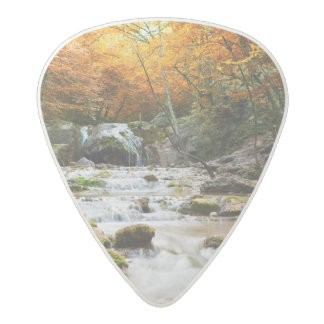 The beautiful waterfall in forest, autumn acetal guitar pick