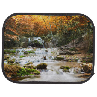 The beautiful waterfall in forest, autumn car mat